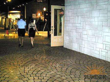 Commercial Walkways with Stamped Overlay