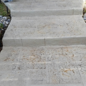 Residential Walkway Stairs with Stamped Overlay System